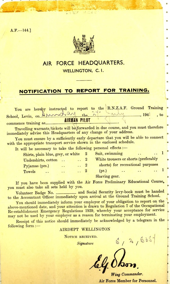 2, Notification to Report for Training