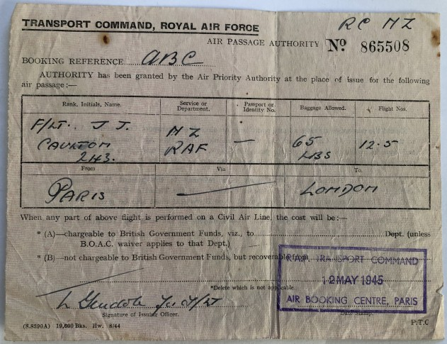 Paris london air ticket 1945 JC